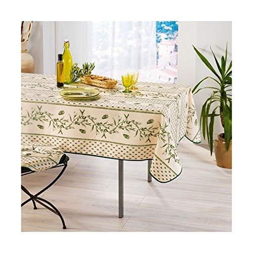 Arte Provenzale TOVAGLIA ANTIMACCHIA Dis. Cigale Olive Vert Rettangolare, per Sala da Pranzo e Cucina (200_x_150_cm)
