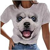 Camiseta de mujer de manga corta para verano, parte superior 3D, diseño de gato, informal, cuello redondo, básico, suéter para adolescentes 8 - gris L