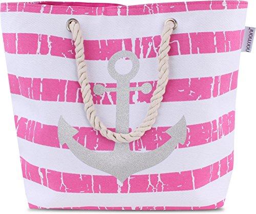 Strandtasche Schultertasche Handtasche Umhängetasche mit Sommer Design und großem Volumen Farbe Old Anchor Pink