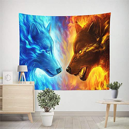 Mandala-Wandteppich,Böhmische Psychedelic Ice Fire Wolf Muster,New Age Wall Hanging Tapestry,Tapestry Wanddeko Für Kinderzimmer Wohnzimmer Schlafzimmer Auch Als Yogamatte Picknickdecke Strandtüch