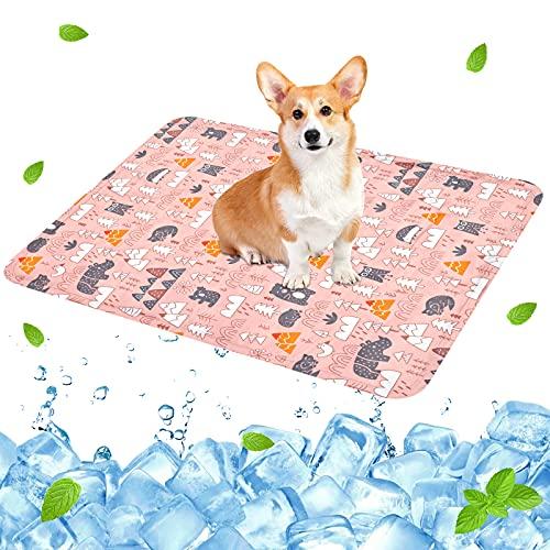 Alfombra Refrescante para Perros,Manta Refrigerante Gato,Alfombrilla de Refrigeración para Animales,Gel No Tóxico,Autoenfriante, Sofás,Perreras,Piso (40x50cm, Rosa)