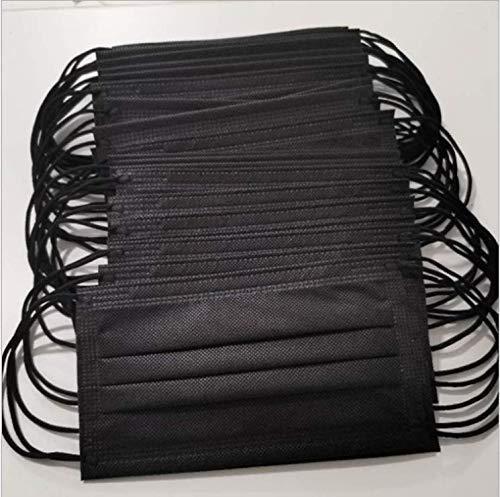NIDAYE - Mascarillas quirúrgicas, desechables, de algodón 50 unidades, color negro