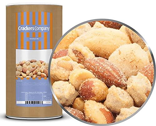 CrackersCompany 'Smokehouse Mix' (2 x 650g in Membrandose groß) Rauchige Edelnussmischung - Geröstete Erdnüsse, Mandeln, Macadamias und Cashew-Kerne mit feinem Chili