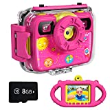 Ourlife Kids Camera, Selfie Kids Waterproof Digital Cameras for Kids 1080P 8MP 2.4 Inch Large Screen with 8GB...