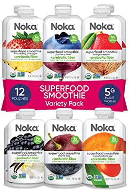 NOKA Superfood Smoothie Pouches 12 Pack (Variety)   100% Organic Healthy Fruit And Veggie Squeeze Packs   Meal Replacement   Non GMO, Gluten Free, Vegan, 5g Plant Protein   4.2oz Each