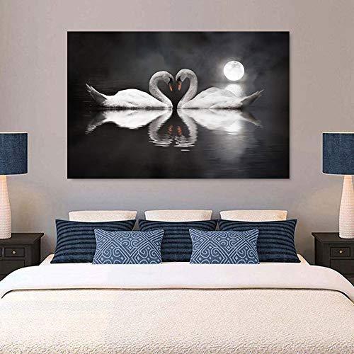 wZUN Swan Heart Swan le Gusta Pintar Carteles e Impresiones de Animales en Lienzo Arte Mural Dormitorio decoración de la Sala de Estar 60x90 Sin Marco