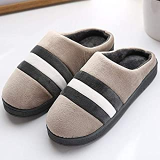 YANGLAN Bedroom slippers autumn and winter cotton slippers new home slippers plus cotton warm plush slippers men's models, women's models Household slippers (Color : E, Size : (41-42))
