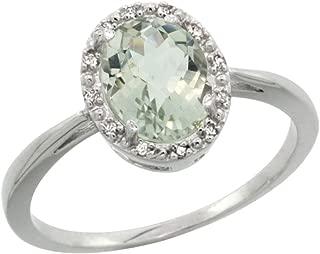 10K White Gold Diamond Halo Genuine Green Amethyst Ring Oval 8X6mm Sizes 5-10