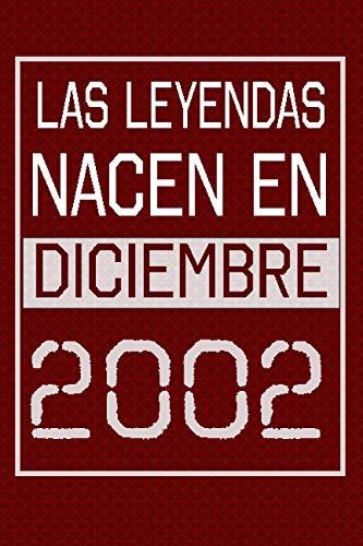 Las leyendas nacen en diciembre de 2002: Regalo de cumpleaños de 18 años para mujeres y hombres | forrado Cuaderno de Notas, Libreta de Apuntes, ... 6*9 120 páginas regalo de cumpleaños