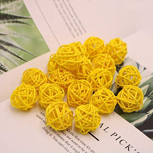 Worldoor 12 Pieces Wicker Rattan Balls Decorative Orbs Vase Fillers for Craft, Party, Wedding Table Decoration, Baby Shower, Aromatherapy Accessories (Yellow, 3 cm)