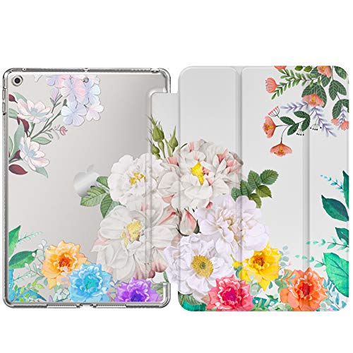 MoKo Case Fit New iPad 8th Generation 10.2' 2020 / iPad 7th Gen 2019,iPad 10.2 Case with Stand, Soft TPU Translucent Frosted Back Cover Slim Shell for iPad 10.2 inch, Auto Wake/Sleep, Various Flowers