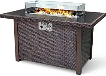 BLUBERY 44   Propane Fire Pit Table 50,000 BTU PE Rattan Gas Fire Pit with Black Tempered Glass Tabletop Glass Wind Guard Auto-Ignition White Glass Stone ETL CERT