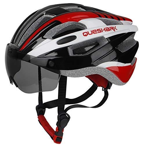 Queshark Casco Bicicleta con 2 Lente Magnética Protección de Seguridad Ajustable Casco de Bicicleta Ligera para Montar en Bicicleta Casco de Bicicleta BMX Skate Mountain Road (Negro Rojo)