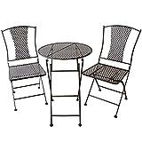 Balkonmöbel-Set 3-teilig aus Eisen im Antikfinish - Französische Gartenmöbel im Antik-Look Bistro-Tisch mit 2 Stühlen im Jugendstil (Nouel)