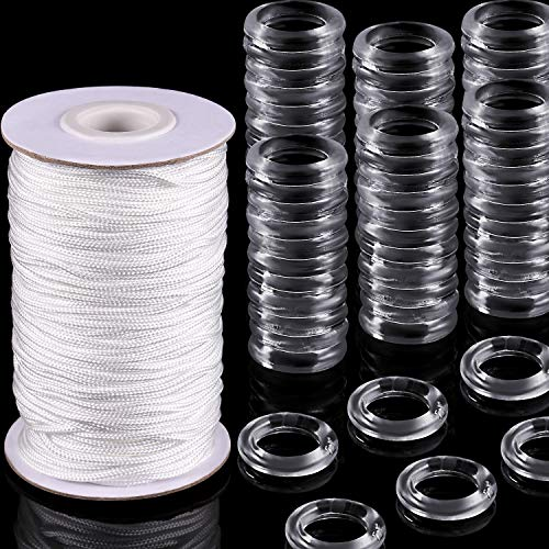 100 Pieces Clear Roman Curtain Rings Blind Roman Ring and 55 Yards Roman Blind Cord 8-13 mm Transparent Plastic Rings 1.8 mm White Braided Lift Shade Cord for DIY Roman Curtains