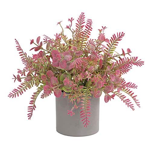 Wyi Plantas artificiales verdes falsas hojas pequeñas en maceta para el baño de escritorio de la fiesta de plástico de la decoración de arbustos para el hogar, la oficina, casa de campo