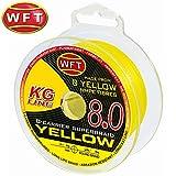 WFT KG 8 gelb 150m - Geflochtene Angelschnur zum Spinnfischen & Meeresangeln, Schnur zum Spinnangeln, Geflechtschnur zum Angeln, Durchmesser/Tragkraft:0.12mm / 15kg Tragkraft