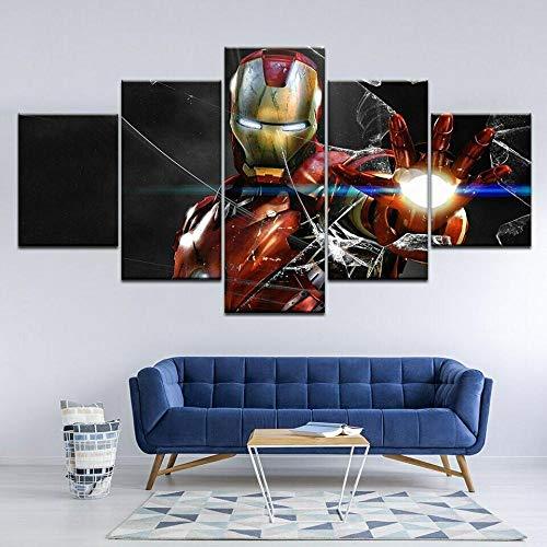 WHYQZ 5 Piezas Abstracto Arte De La Pared Iron Man Avengers destrozados Print Wall Art HD Print Canvas Pictures Poster Home Wall Decor Artwork Mural Foto Listo para Colgar 150x80cm