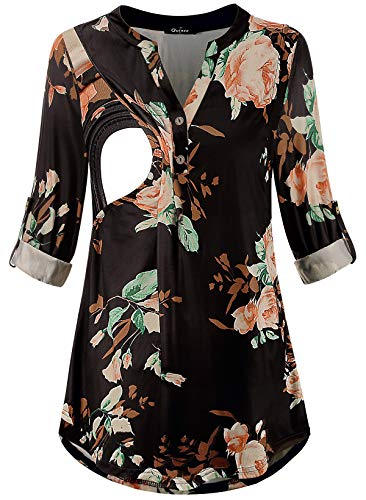 Quinee Nursing Shirt, V Neck 3/4 Sleeve Printed Breastfeeding Tunic Tops Comfy Relaxed Fit Plus Size Pregnancy Clothes for Women Soft Stretchy Maternity Clothing Black Floral S