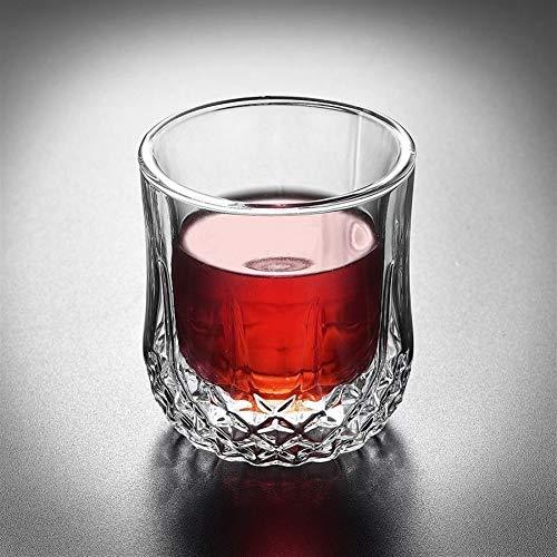 Z-Y Taza de cafe Copa de vino Vaso de whisky Diamante transparente de cristal de doble pared resistente al calor Whisky Vodka Brandy Wine Glass Bar Restaurante de cristal del regalo del negocio del vi