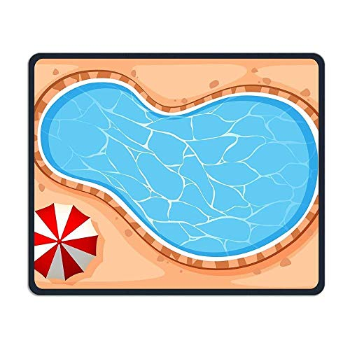 Gaming-Mauspad, Mauspads Swimming Pool and Umbrella Personality Mouse Pad 25 x 30cm with Design,with Stitched Edges,Non Slip Rubber G Mouse Pad for Notebooks,Desktop Computers