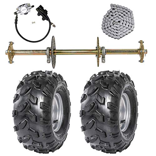 """ZXTDR 1"""" Steel Live Axle with 18x9.5-8 Tubeless Wheels Tires Rim and Chain Sprocket Brake Master Cylinder for Go Kart Quad Trike Golf Carts"""