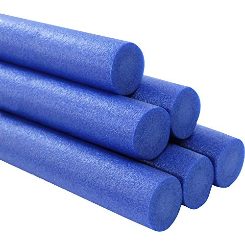 Deluxe Floating Pool Noodles Foam Tube, Deep Blue Solid Core Super Thick Noodles, Float in The Swimming Pool, 52 Inches Long (6-Pack)
