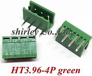 Davitu 100PCS Terminal bend pin HT3.96-4PL plug socket 3.96MM pitch green HT3.96-4P Curved needle