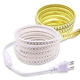 Tira LED 4000K Exterior IP67 Impermeable AC 220V 5730 120led/m 3M Blanco Tira de luz LED Flexible con Enchufe