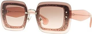 Miu Miu MU01RS UEU1E2 Transparent Pink Glitter MU01RS Square Sunglasses Lens Ca