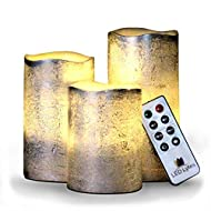 Battery Operated Flameless Candles Set of 3 Round Rustic Silver Coated Ivory Wax with Warm White Flame Flickering LED Candles, auto-Off Timer Remote Control by LED Lytes