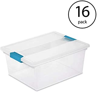 STERILITE Deep Clip Box Clear Plastic Storage Tote Container with Lid (16 Pack)