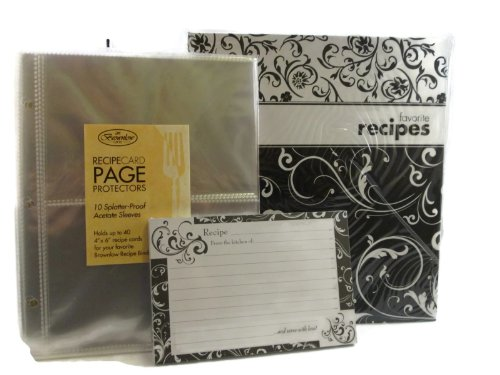 Pocket Page Recipe Book Bundle - Brownlow Black and White Swirls Book - Matching Binder, 4 x 6 Cards, Tabbed Dividers and Protector Pages - Plus an Additional 10 Protector Sleeves and 36 Coordinated Recipe Cards