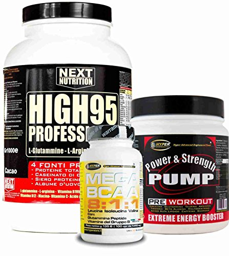 Kit Massa Muscolare Proteine Hygh 95 90% 4 fonti g 1000 Cacao + Pre Workout g 500 Creatina Glutammina Arginina Caffeina Beta Alanina + BCAA 8:1:1 100 cp con Glutammina e Vitamine