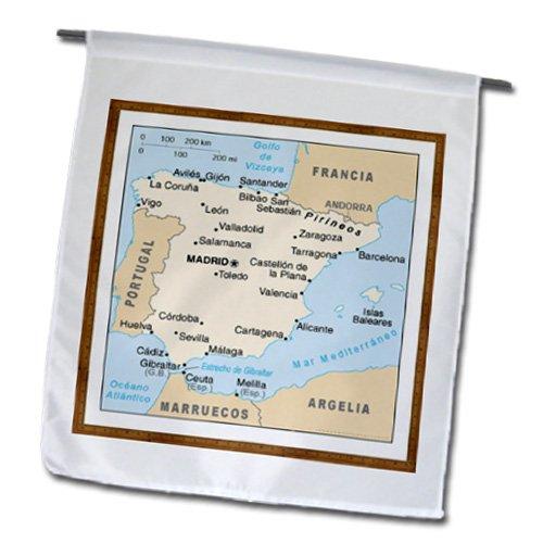 3dRose FL_119795_ 1 Mapa Moderno de España con Bandera de jardín de Ciudades, 12 por 18 Pulgadas
