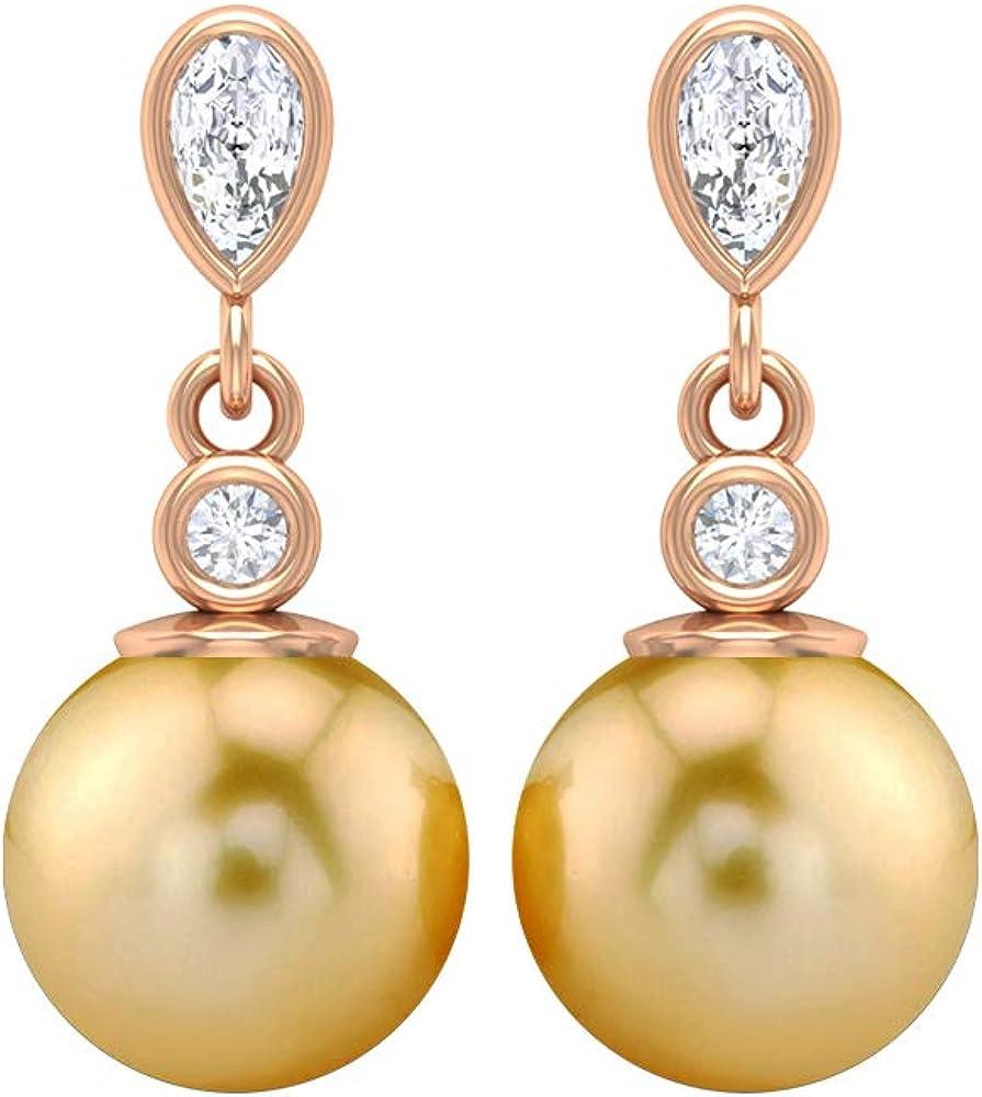 Pear Shape Diamond Earring, 6 CT 7 MM South Sea Pearl Drop Earring, HI-SI Diamond Dangle Earring, Unique Wedding Earring, Statement Earring, Screw back