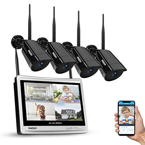 TMEZON Sistema de cámara de Seguridad inalámbrica 8CH con 12 Pulgadas de Monitor LCD, cámara Tipo Bala 4 * 1080P, Kit de cámara CCTV IP WiFi NVR, Disco Duro de 1TB