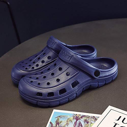 TDYSDYN Tira Ancha, Sandalia Tipo Chancla Verano,La Puntera Antideslizante Calza los Zapatos de la Enfermera, el talón Plano Calza Las Mujeres-Azul Oscuro_41