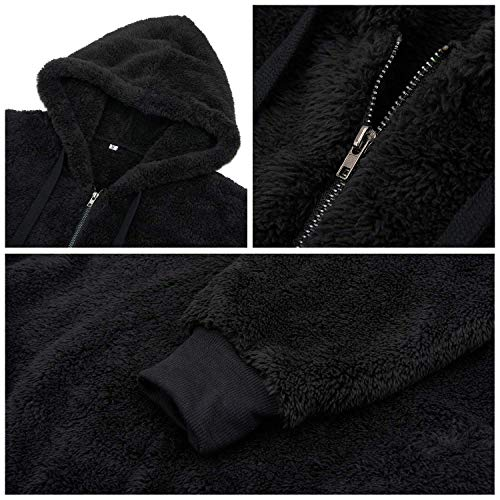 Bwiv Women's Baggy Fluffy Pullover Hoodie Soft Teddy Fleece Jumper with 1/4 Zipper and Drawstring for Winter Ladies Long Sleeves Sweatshirt Soft Tops Girls Black 1 S