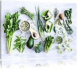 Grüne Gemüse Obst Vielfalt Format: 60x40 auf Leinwand,