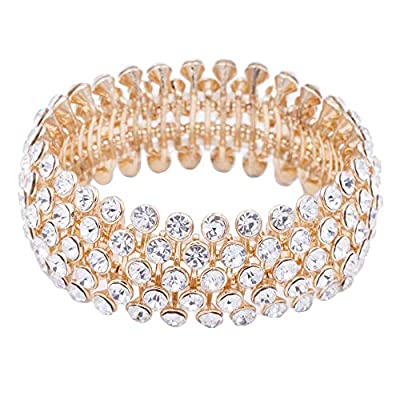 Lavencious Tennis 5 Row Rhinestone Stretch Bracelets Bridal Evening Party Jewelry for Woman Bangle (Gold)