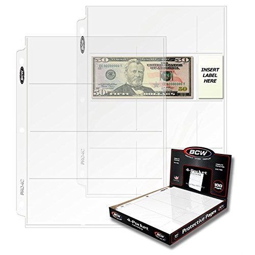 BCW PRO 4-POCKET CURRENCY PAGE (300 CT. BOX)