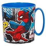 Gobelet Spiderman 350ml Gobelet en plastique pour micro-ondes avec poignée Petit-déjeuner pour enfants (Spiderman)