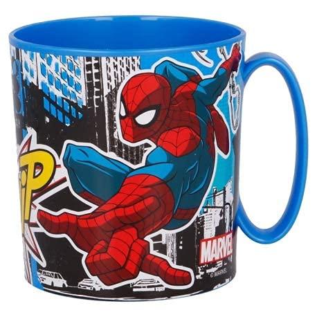 Tazza Spiderman 350ml Bicchiere in plastica per Microonde con manico Bambini colazione (Spiderman)