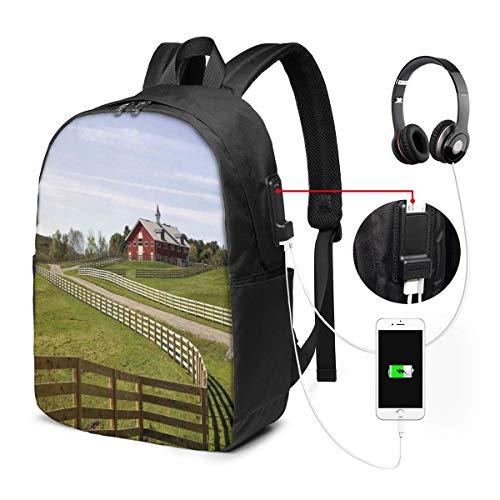 Usicapwear rugzak, lange foto van stromende hek van landhuis in landelijk grasland boerderij pastorale