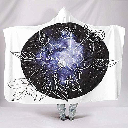 Zseeda Flores florecientes Estrellas Nebulosa Galaxy Pintura Naturaleza Acogedor Suave con Capucha Throw Wrap Niños Descansando