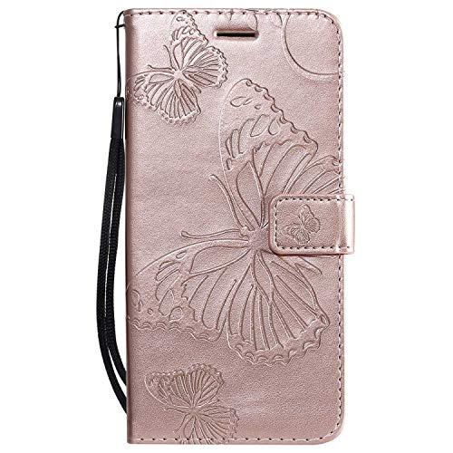 DENDICO Cover Galaxy M20, Pelle Portafoglio Custodia per Samsung Galaxy M20 Custodia a Libro con Funzione di appoggio e Porta Carte di cRossoito - Oro Rosa
