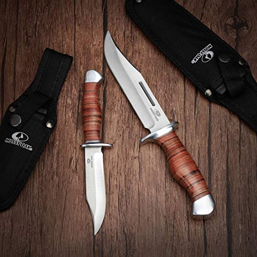 Mossy Oak 2-Piece Bowie Knife, Fixed Blade Hunting Buck Knife Set Leather Handle with Sheath
