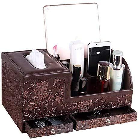 LINPOZONE Organizador de mando a distancia para televisión, de cuero, organizador de CD, organizador de escritorio, bolígrafos, lápices, brochas de maquillaje, vanidad, mesita de noche