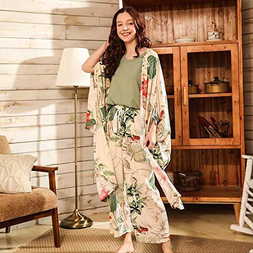 XFLOWR Vrouwen Verse Stijl 4 stks Pajama Set Zachte Brede Mouw Losse Cardiagn+vest+shorts+broek Slaapmode Pak Dames Huiskleding Casual Wear